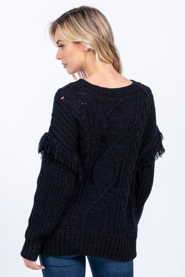 BRAID THE WAY BLACK CABLE KNIT FRINGE SWEATER