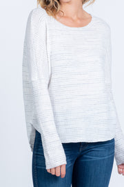 RELAX WITH ME WHITE WAFFLE KNIT TOP