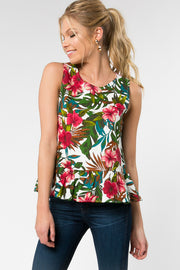 PARADISO FLORAL FIT AND FLARE TANK