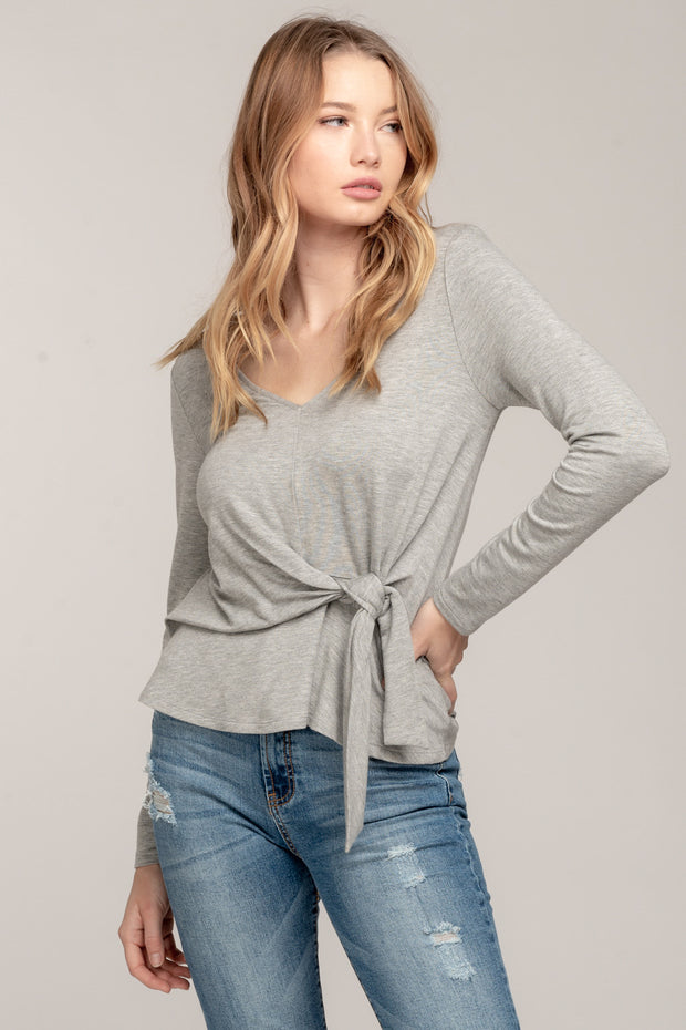 KNOT TO MENTION HEATHER GREY TIE FRONT TOP