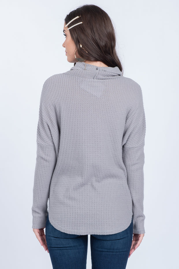 HIDDEN LOVE LETTERS GREY TURTLENECK WAFFLE-KNIT SWEATER