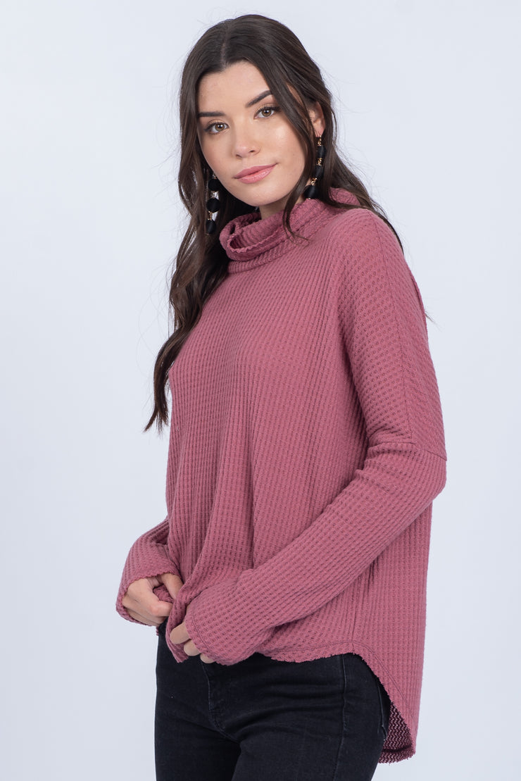 HIDDEN LOVE LETTERS MAUVE TURTLENECK WAFFLE-KNIT SWEATER