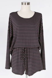 BE CASUAL BLACK-CHARCOAL STRIPED TOP