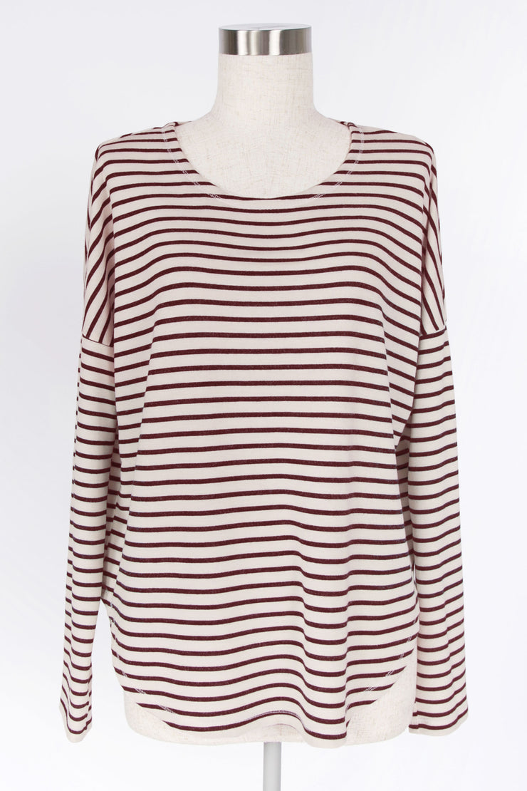 BE CASUAL WINE STRIPED TOP