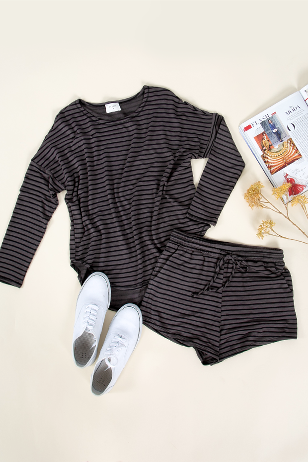 BE CASUAL BLACK-CHARCOAL STRIPED SHORTS