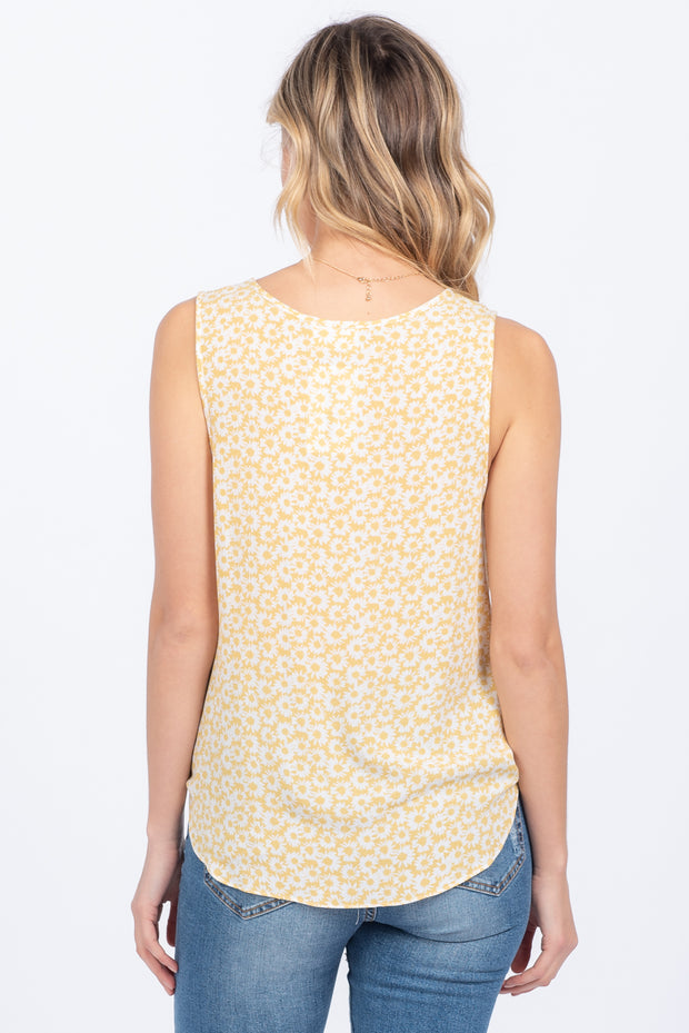 HELLO SUNSHINE YELLOW TIE FRONT TANK TOP