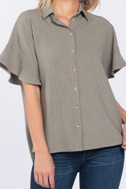 TRY AGAIN SAGE LINEN BUTTON DOWN TOP