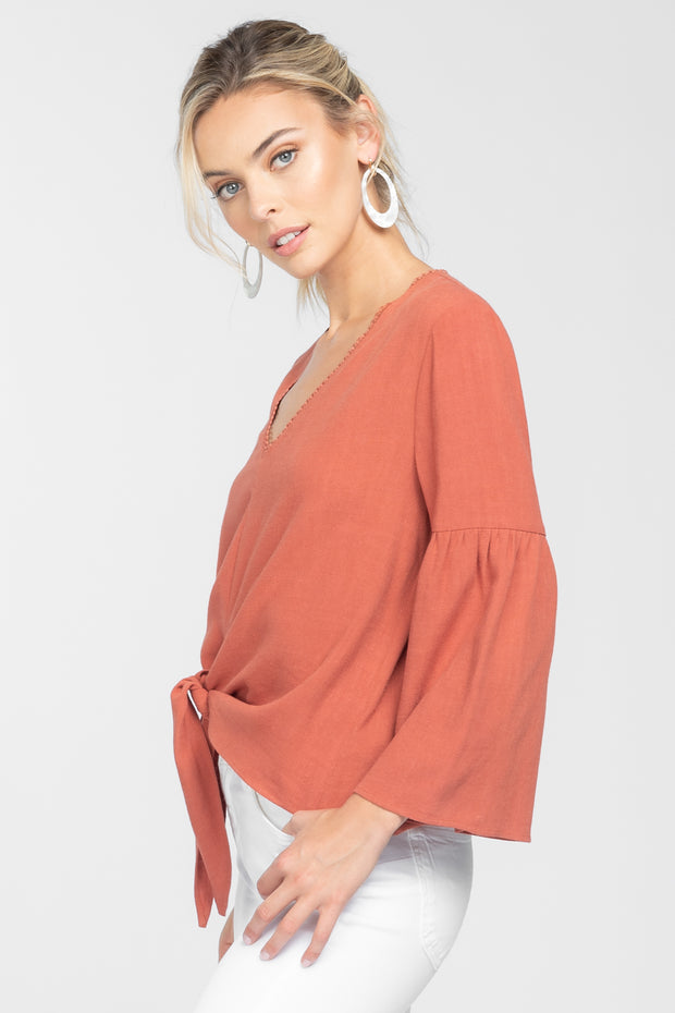 AMANDA CLAY LONG SLEEVE TIE FRONT TOP