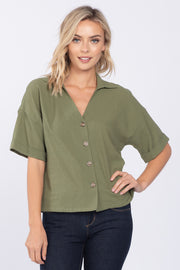 LOVE STORY OLIVE LINEN COLLARED TOP