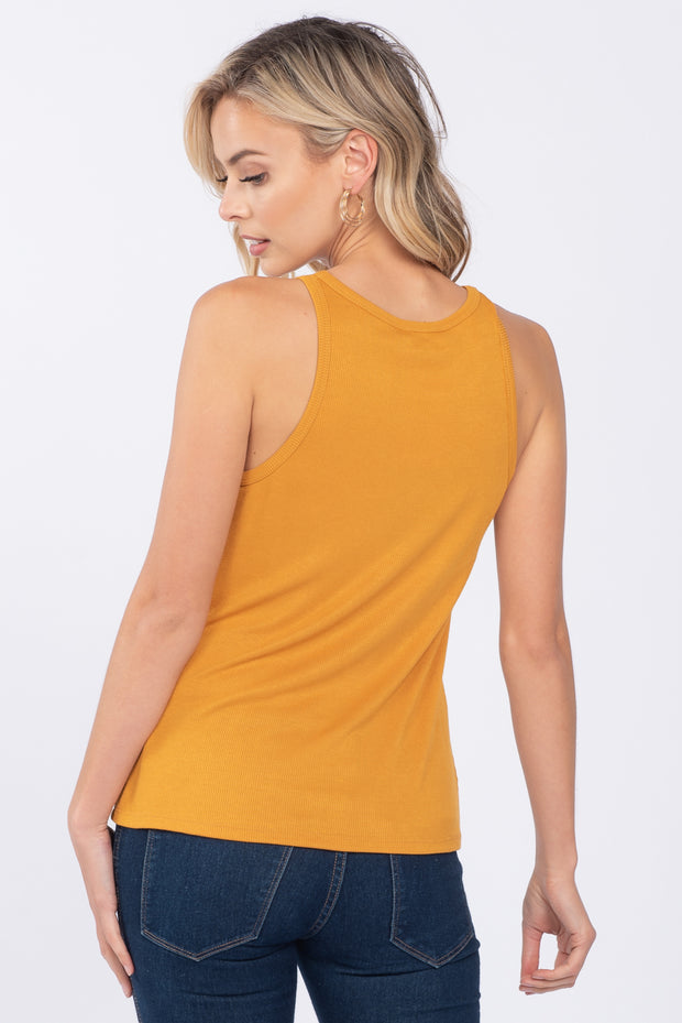 WAKE ME UP MUSTARD BUTTON DOWN TANK TOP