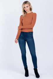 ANYTHING IS POSSIBLE CAMEL LETTUCE-EDGE MOCK NECK TOP