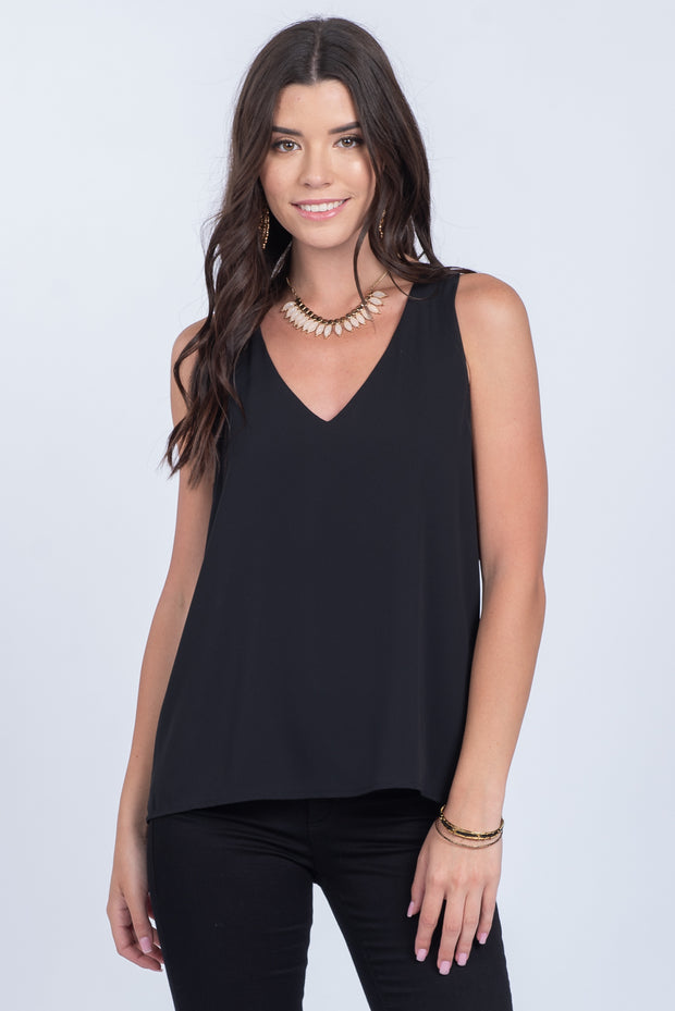 VERY CONFIDENT BLACK V-NECK TANK TOP