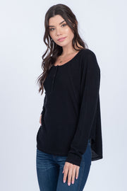 FREQUENT FLYER BLACK WAFFLE-KNIT HENLEY TOP