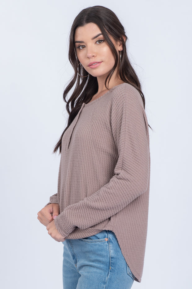 FREQUENT FLYER MOCHA WAFFLE-KNIT HENLEY TOP