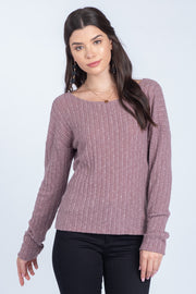 FIND MY LOVE MAUVE OPEN BACK TWIST SWEATER