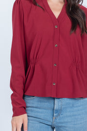 FROM THE START BURGUNDY BUTTON DOWN TOP