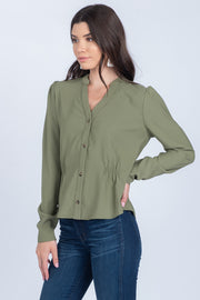 FROM THE START OLIVE BUTTON DOWN TOP