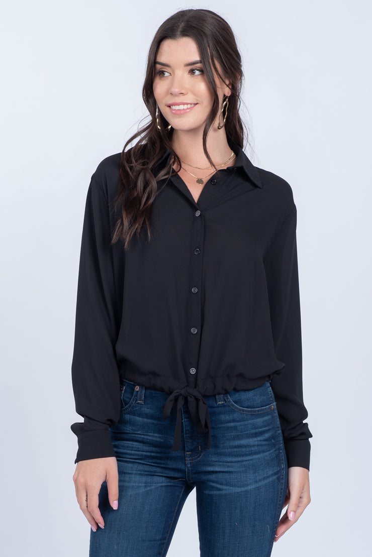 FIND YOUR WAY BLACK TIE FRONT TOP