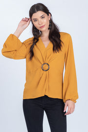KEEPING PROMISES TWIST BUCKLE PUFF SLEEVE TOP