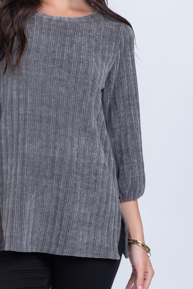 OH SO SOFT GREY CHENILLE RIBBED SWEATER