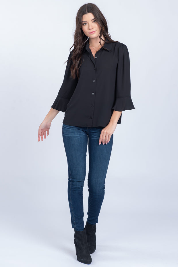 DRESSED FOR SUCCESS BLACK BUTTON-UP RUFFLE TOP