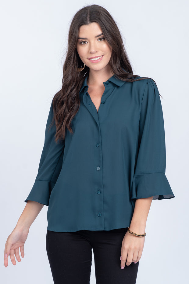 DRESSED FOR SUCCESS PINE BUTTON-UP RUFFLE TOP