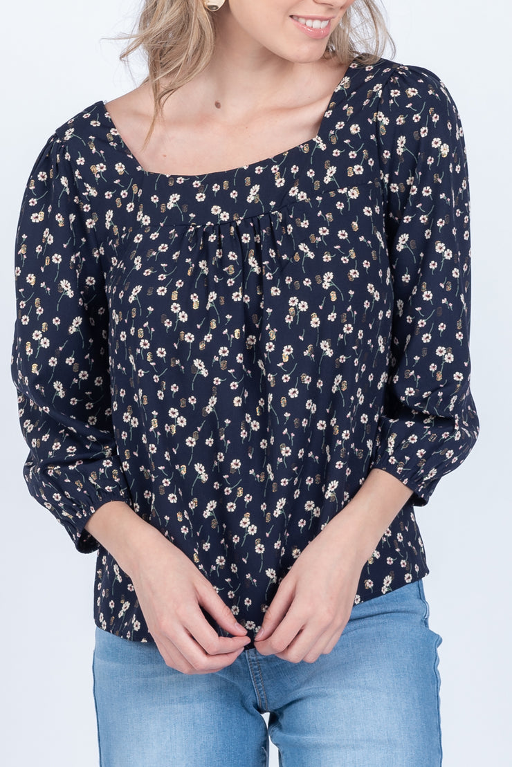 DREAM OF ME FLORAL SQUARE NECK TOP