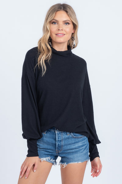 MOCK AND ROLL BLACK MOCK NECK TOP