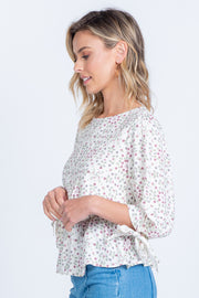 PRETTY PETALS IVORY DITSY FLORAL PEPLUM TOP