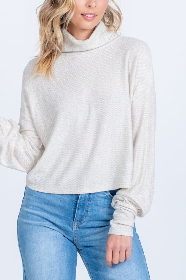COMIN' UP COZY OATMEAL TURTLENECK TOP