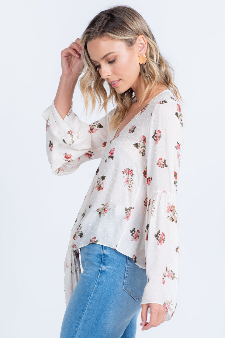 BLOOM WHERE YOU ARE PLANTED IVORY FLORAL PRINT TOP