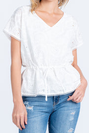 NEW BEGINNINGS WHITE EYELET SHORT SLEEVE TOP