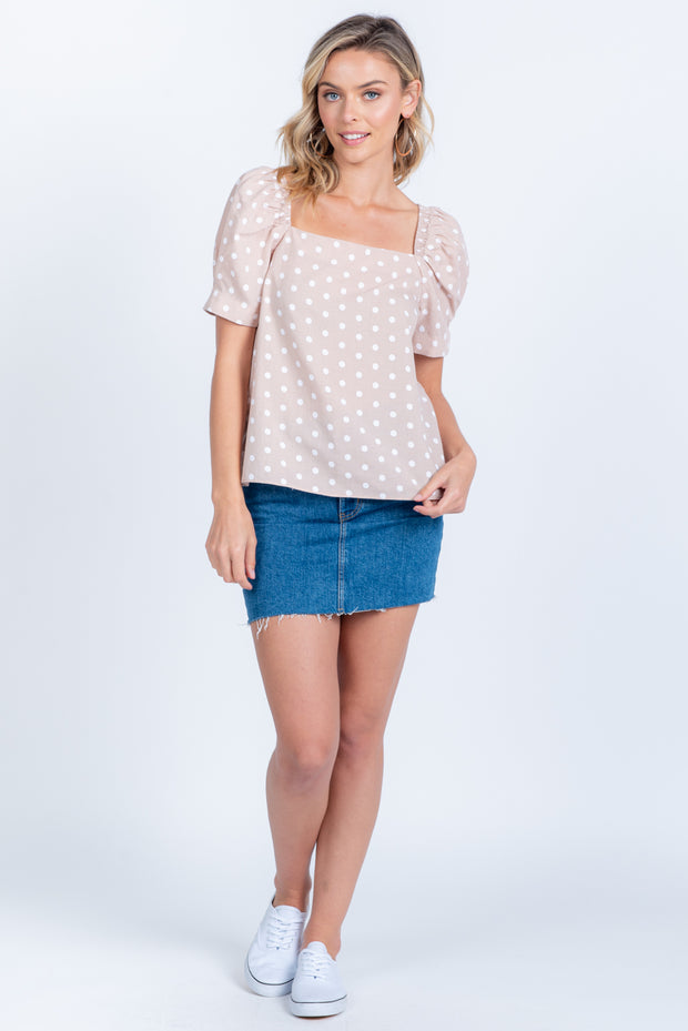SWEET MOMENT TAUPE POLKA DOT TOP