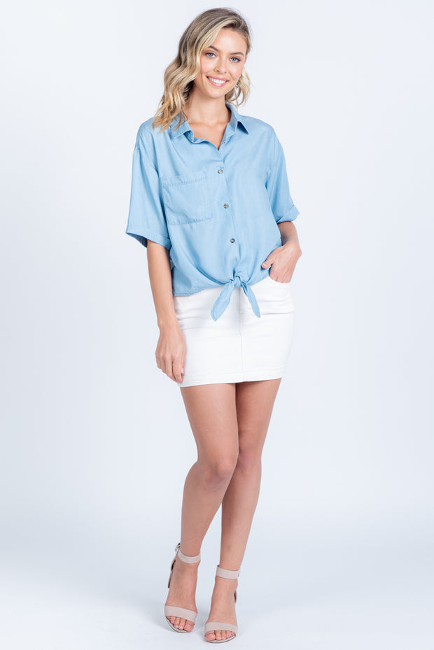 KEEP CALM N' CARRY ON CHAMBRAY BUTTON UP TIE TOP