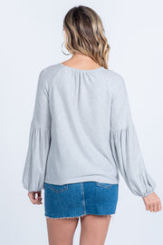 GO WITH THE FLOW OATMEAL BALLOON SLEEVE KNIT TOP