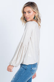 GO WITH THE FLOW HEATHER GREY BALLOON SLEEVE KNIT TOP