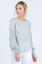 BE YOURSELF SAGE FLORAL BALLOON SLEEVE WOVEN TOP