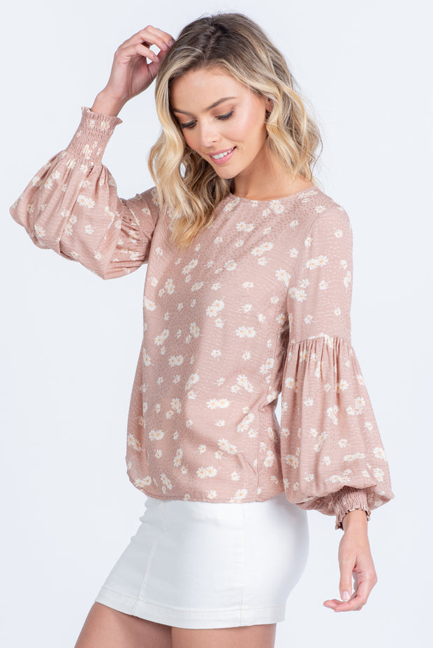 BE YOURSELF TAUPE FLORAL BALLOON SLEEVE WOVEN TOP