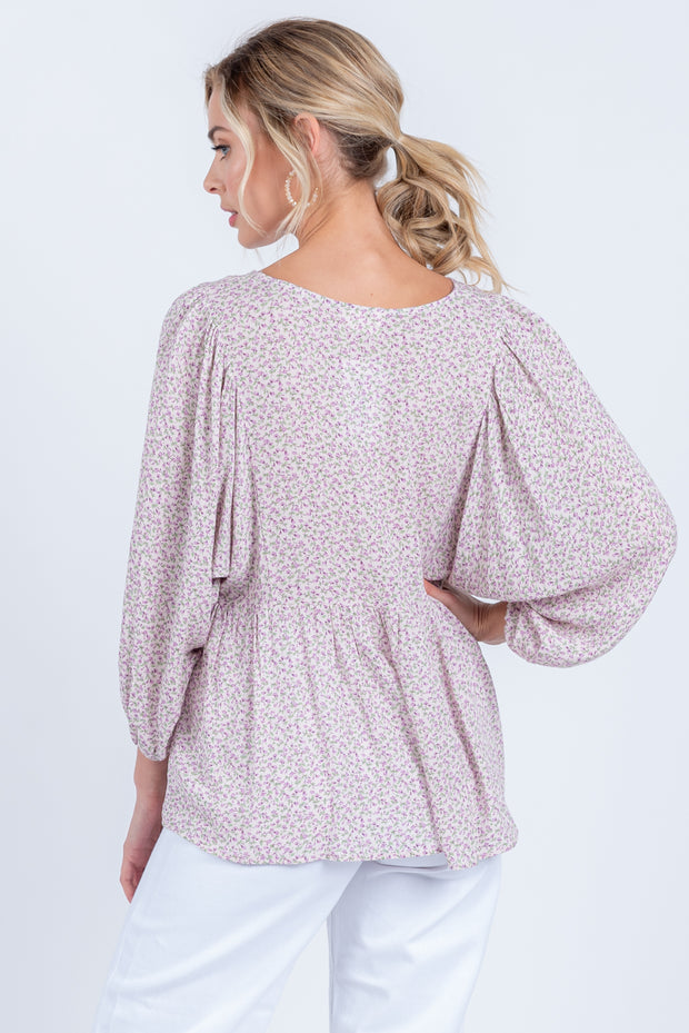 YES YOU CAN LAVENDER FLORAL PRINT BABYDOLL LONG SLEEVE TOP