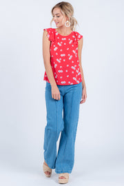 BLOSSOM ON OVER RED RUFFLE TOP