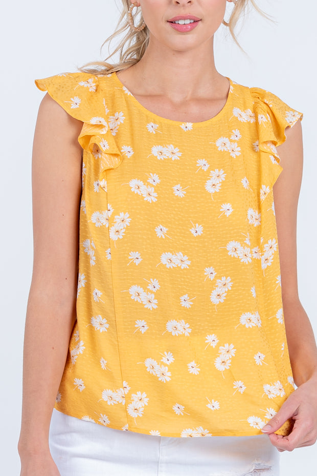 BLOSSOM ON OVER YELLOW RUFFLE TOP
