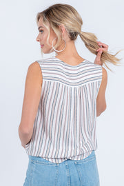 WALK THE LINE BLACK STRIPED SURPLICE TOP