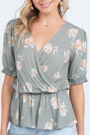 SWEET MEMORIES SAGE FLORAL TOP