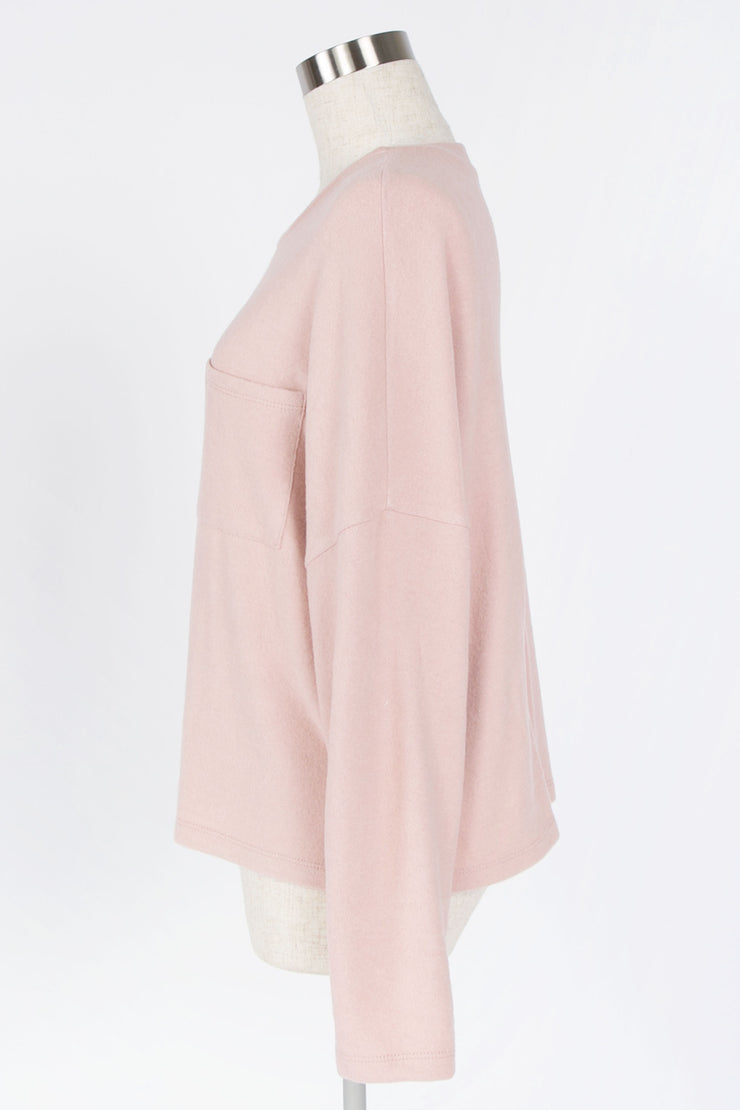 EARLY MORNINGS DUSTY ROSE BRUSHED KNIT TOP