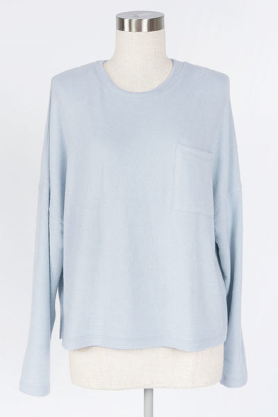 EARLY MORNINGS CHAMBRAY BRUSHED KNIT TOP