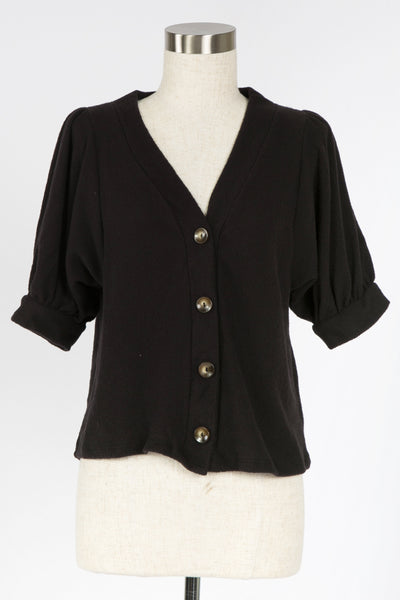 DAY BY DAY BLACK CARDIGAN TOP