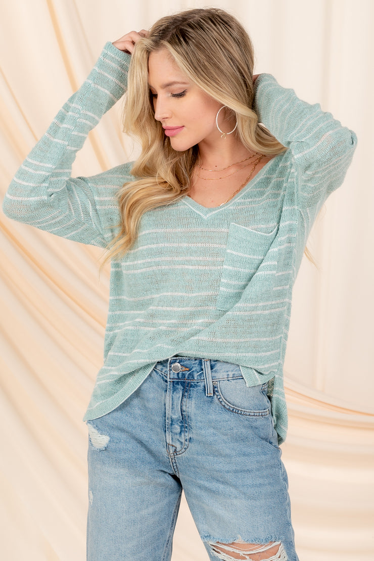 ACT CASUAL SAGE LONG SLEEVE TOP