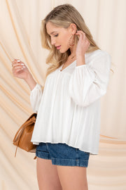LEISURE LOVER WHITE LONG SLEEVE WOVEN TOP