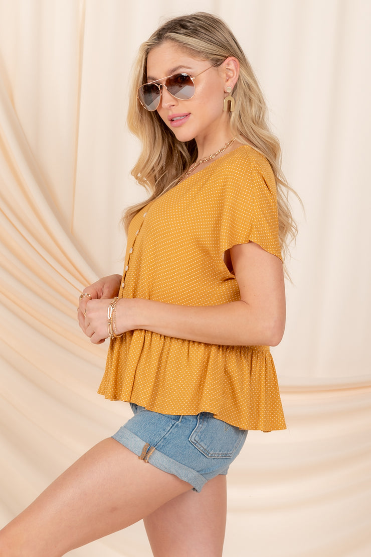 MY DARLING LOVE MUSTARD POLKA DOT BABYDOLL TOP