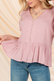 MY DARLING LOVE PINK POLKA DOT BABYDOLL TOP